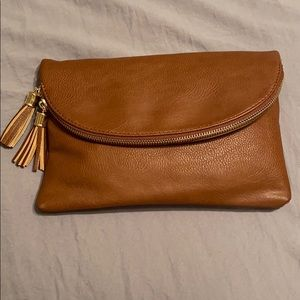 Brown leather clutch/crossbody bag. New w/out tags